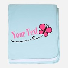 Personalizable Pink Butterfly baby blanket