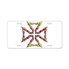 Flame cross.png Aluminum License Plate
