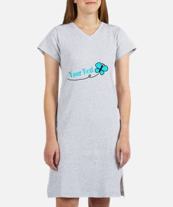 Personalizable Teal and Black Butterfly Women's Ni