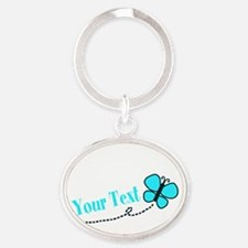 Personalizable Teal and Black Butterfly Keychains