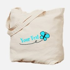 Personalizable Teal and Black Butterfly Tote Bag