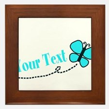 Personalizable Teal and Black Butterfly Framed Til