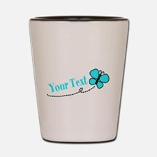 Personalizable Teal and Black Butterfly Shot Glass