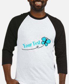 Personalizable Teal and Black Butterfly Baseball J