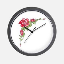 ROSES CORNER BORDER Wall Clock