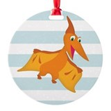 Orange pterodactyl dinosaur Round Ornament