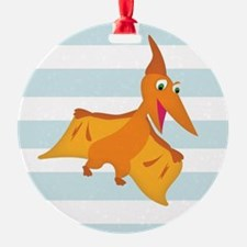 Orange Pterodactyl Dinosaur; Kids Ornament