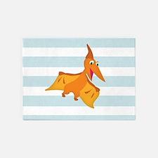 Orange Pterodactyl Dinosaur; Kids 5'x7'Area Rug