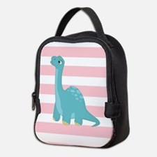 Cute Blue Dinosaur on Pastel Pink Stripes Neoprene