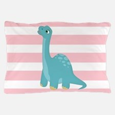 Cute Blue Dinosaur on Pastel Pink Stripes Pillow C