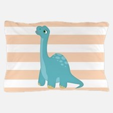 Cute Blue Dinosaur on Peach and White Stripes Pill
