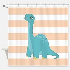 Cute Blue Dinosaur on Peach and White Stripes Show