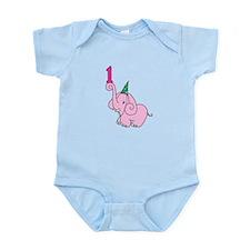 Cute First Birthday Elephant Body Suit