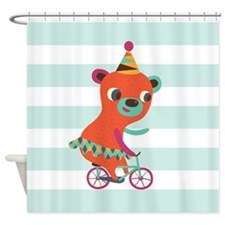 Colorful Circus Bear on Bicycle on Baby Blue Strip