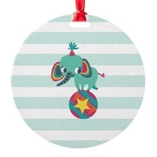 Colorful Circus Elephant on Baby Blue Stripes Orna