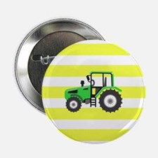 Green Farm Tractor on Yellow and White Stripes Pat