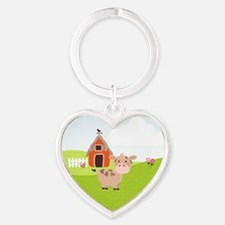 Cow and Barn, Farm Theme Kid's Keychains