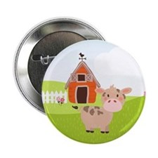 "Cow and Barn, Farm Theme Kid's 2.25"" Button (10 pa"