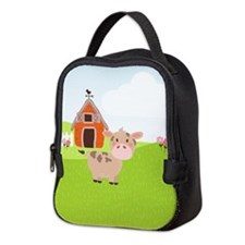 Cow and Barn, Farm Theme Kid's Neoprene Lunch Bag