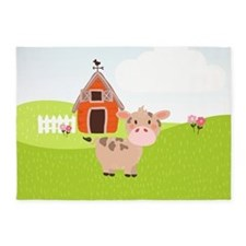 Cow and Barn, Farm Theme Kid's 5'x7'Area Rug