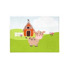 Cow and Barn, Farm Theme Kid's 5'x7'Area Rug