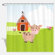 Cow and Barn, Farm Theme Kid's Shower Curtain