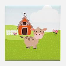 Cow and Barn, Farm Theme Kid's Tile Coaster
