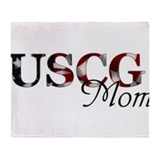 Mom USCG_flag .png Throw Blanket