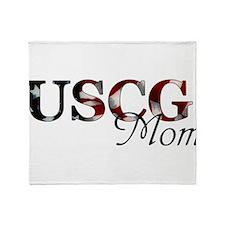 Mom USCG_flag .png Throw Blanket