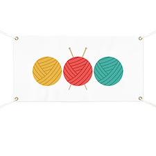 Yarn Balls Knitting Banner