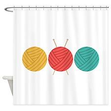 Yarn Balls Knitting Shower Curtain