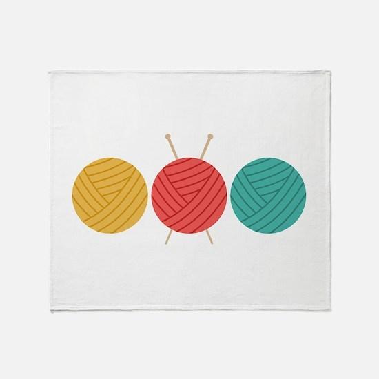 Yarn Balls Knitting Throw Blanket