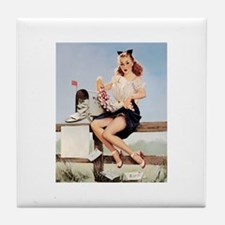 Vintage Pin-Up Tile Coaster