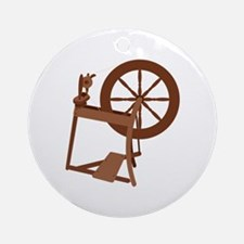 Yarn Spinning Wheel Ornament (Round)
