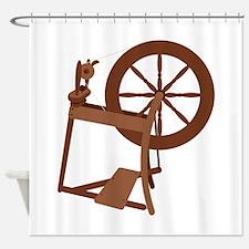Yarn Spinning Wheel Shower Curtain