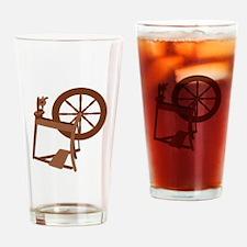 Yarn Spinning Wheel Drinking Glass