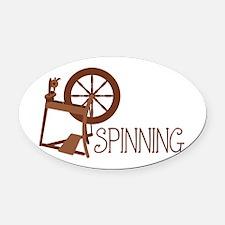 Spinning Wheel Oval Car Magnet