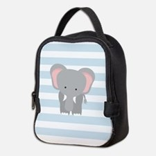 Baby Elephant on Baby Blue and White Stripes Patte