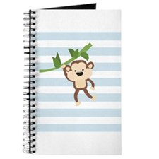 Brown Monkey on Baby Blue and White Stripes Patter