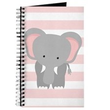 Elephant on Pastel Pink and White Stripes Pattern