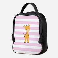 Giraffe on Pastel Pink and White Stripes Pattern N