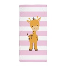Giraffe on Pastel Pink and White Stripes Pattern B