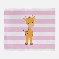 Giraffe on Pastel Pink and White Stripes Pattern T