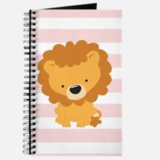 Lion on Pastel Pink and White Stripes Pattern Jour