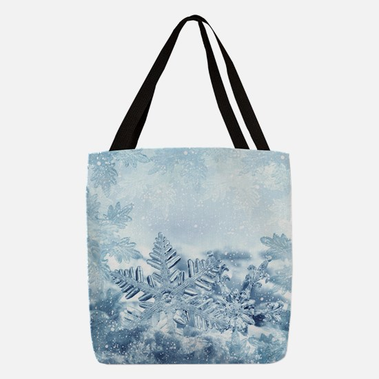 Snowflake Crystals Polyester Tote Bag
