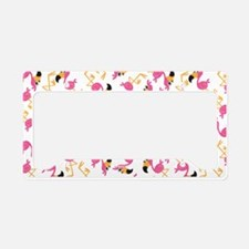 Cute Vacationing flamingo License Plate Holder