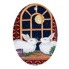 Moon Bunnies Oval Ornament