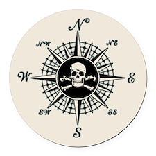 Compass Rose II Round Car Magnet