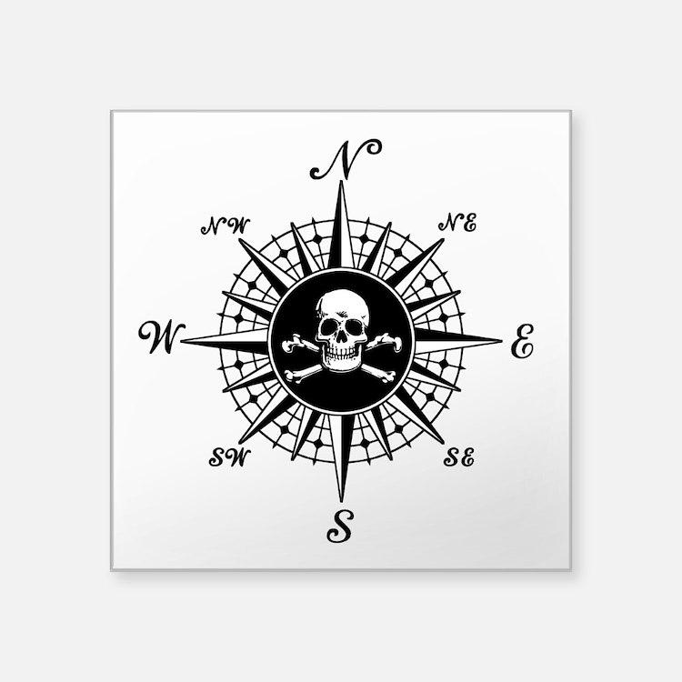 "Compass Rose II Square Sticker 3"" x 3"""