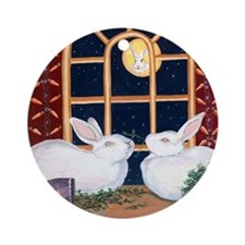 Moon Bunnies Round Ornament